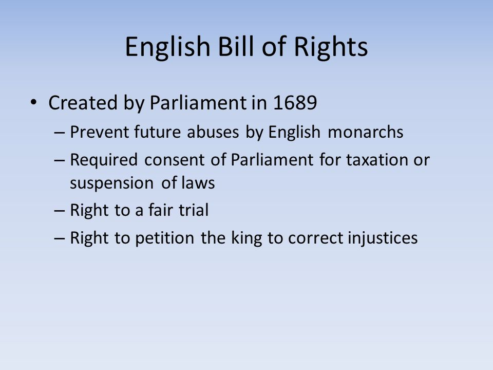 English Bill of Rights Created by Parliament in 1689