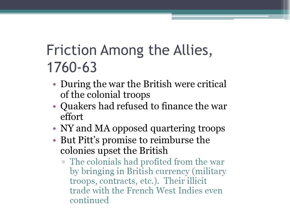 Friction Among the Allies, 1760-63