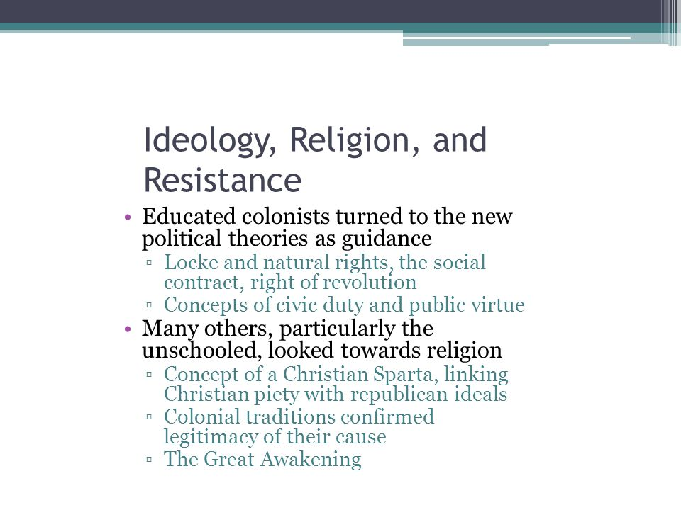 Ideology, Religion, and Resistance