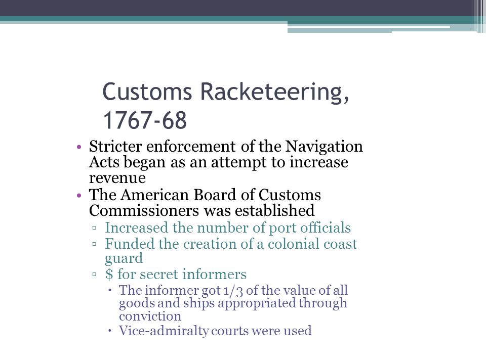Customs Racketeering, 1767-68