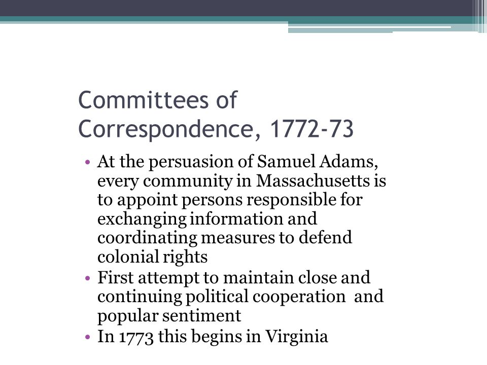 Committees of Correspondence, 1772-73