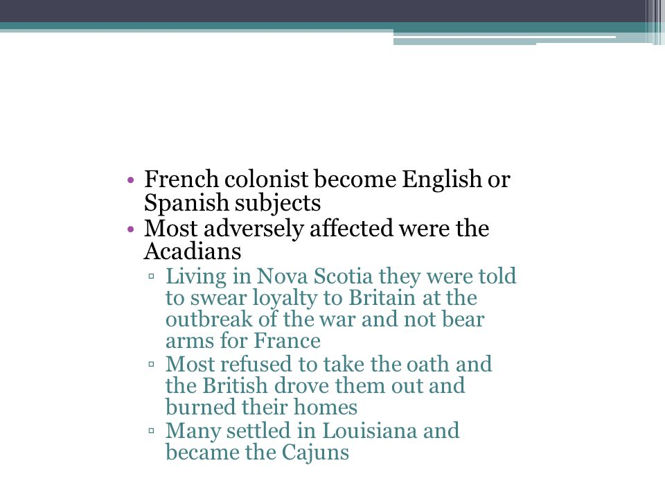 French colonist become English or Spanish subjects