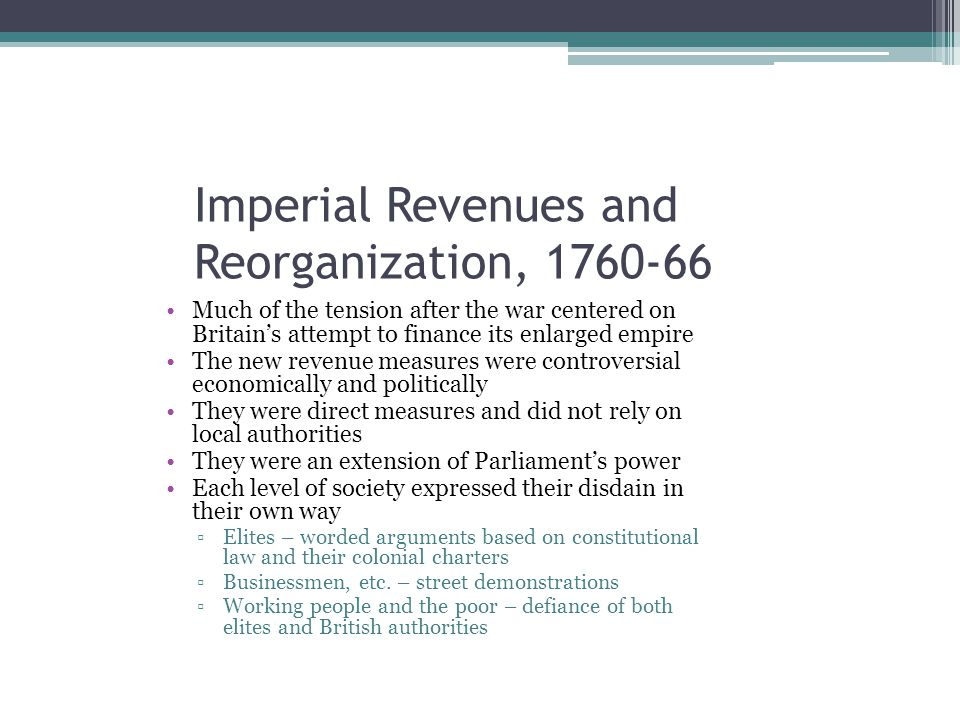 Imperial Revenues and Reorganization, 1760-66
