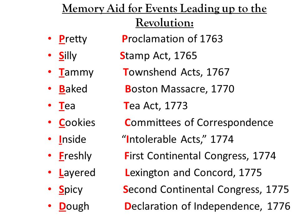 Memory Aid for Events Leading up to the Revolution: