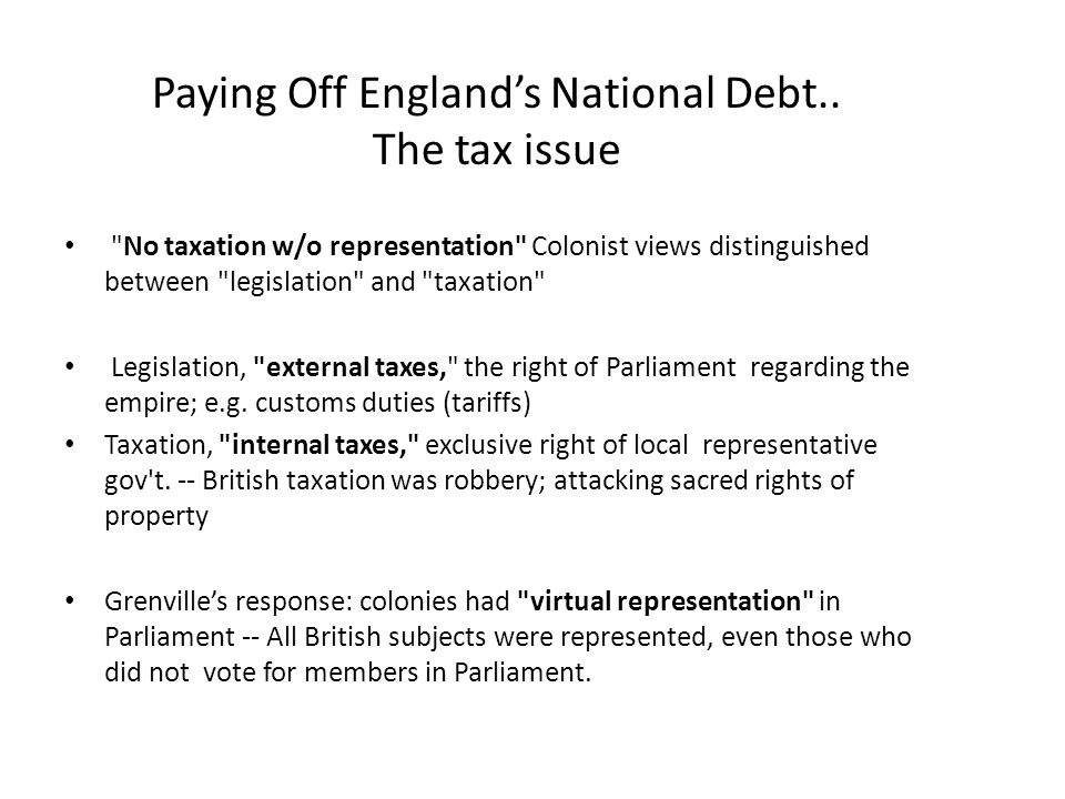 Paying Off England's National Debt.. The tax issue