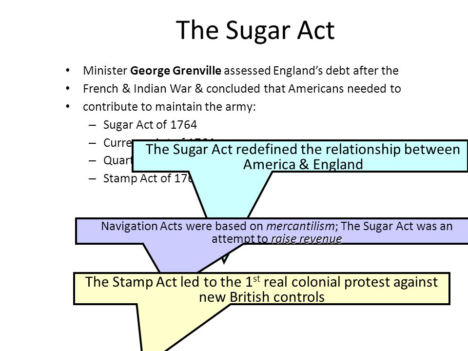 The Sugar Act redefined the relationship between America & England