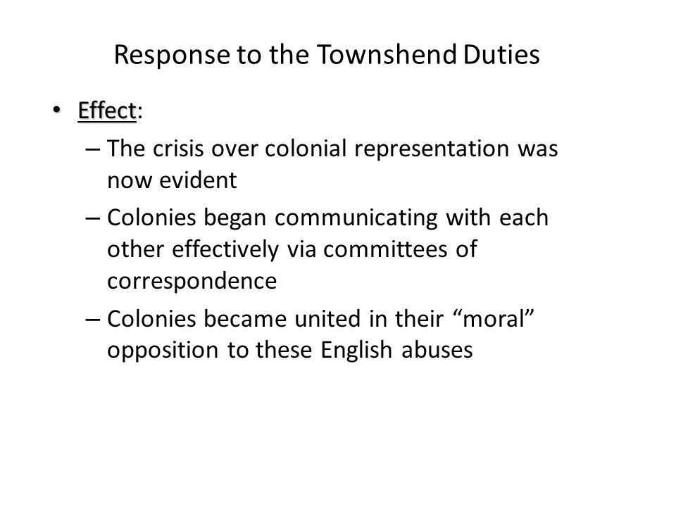 Response to the Townshend Duties