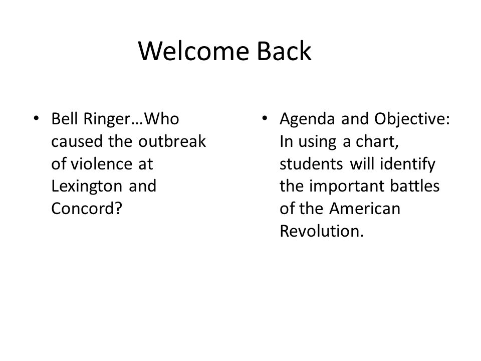 Welcome Back Bell Ringer…Who caused the outbreak of violence at Lexington and Concord