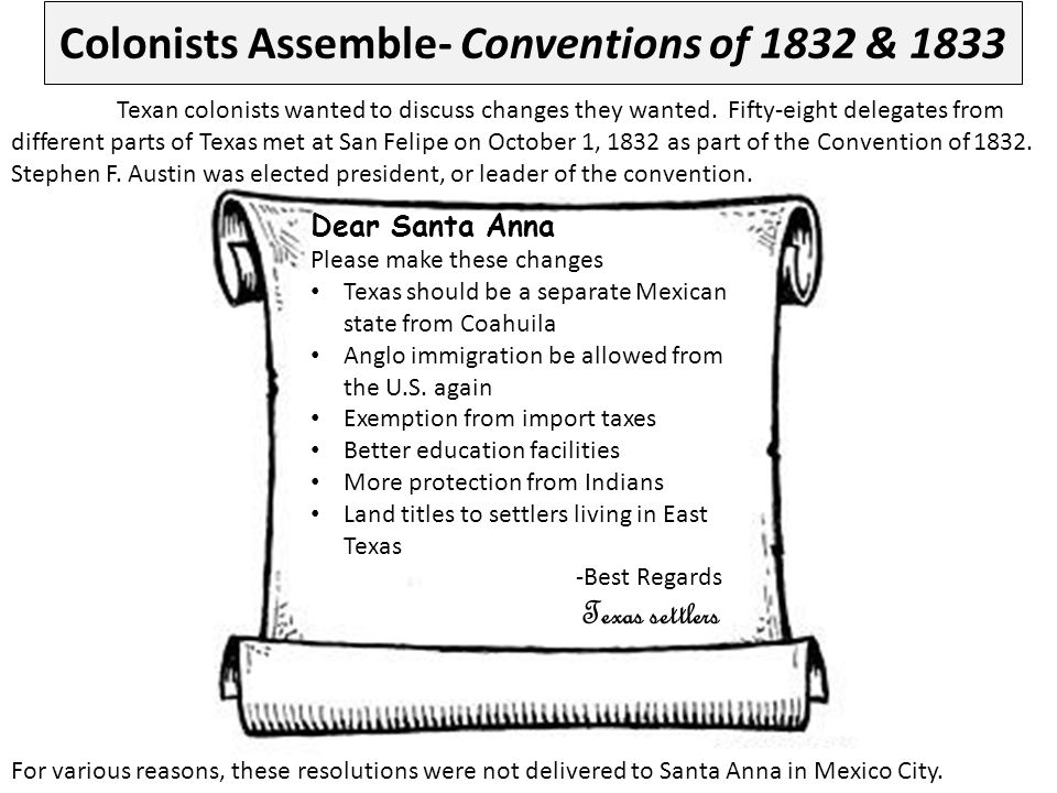 Colonists Assemble- Conventions of 1832 & 1833