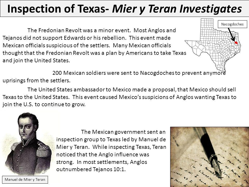 Inspection of Texas- Mier y Teran Investigates