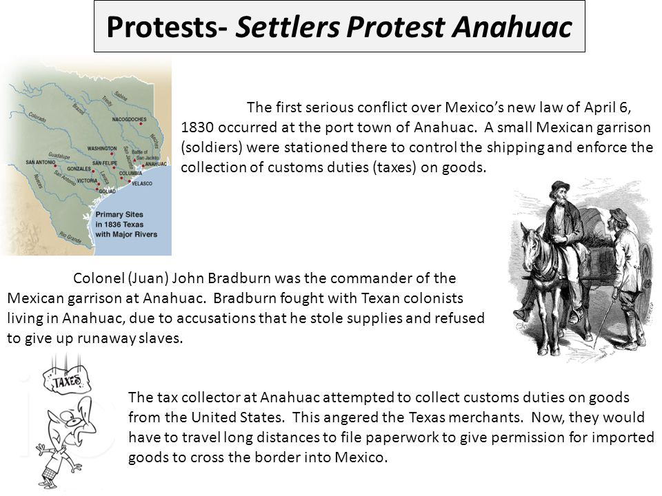 Protests- Settlers Protest Anahuac
