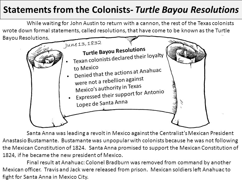 Statements from the Colonists- Turtle Bayou Resolutions