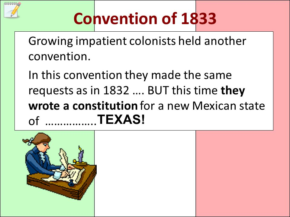 Convention of 1833 Growing impatient colonists held another convention.