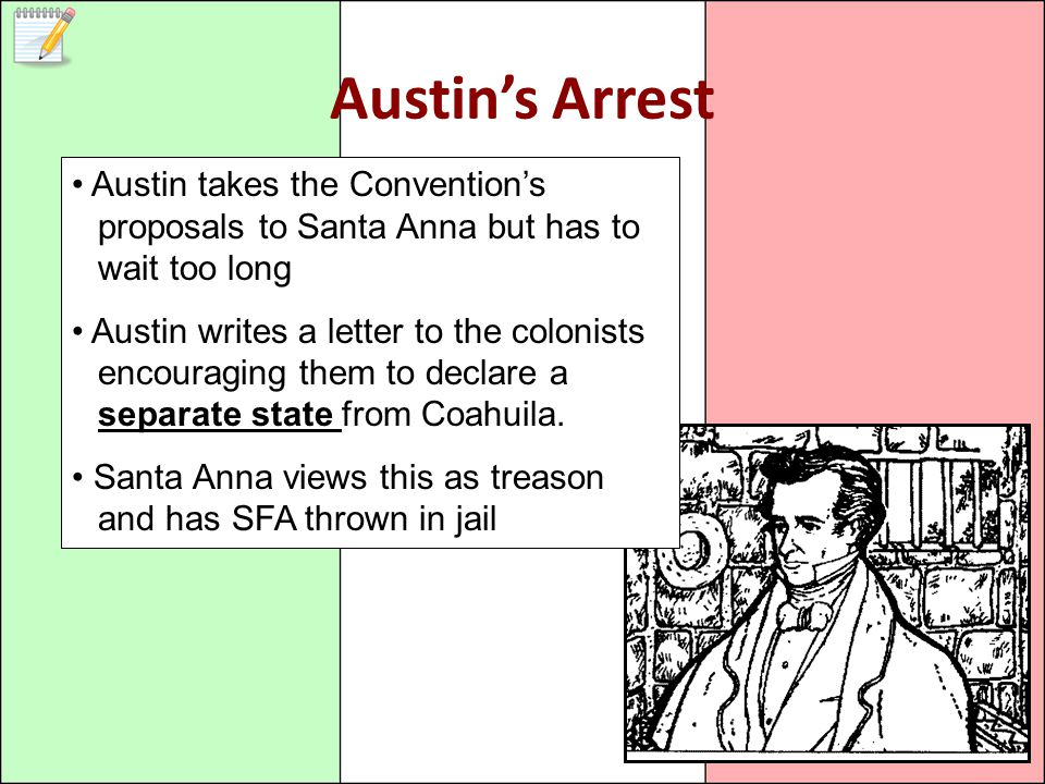 Austin's Arrest Austin takes the Convention's proposals to Santa Anna but has to wait too long.