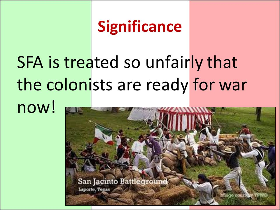 SFA is treated so unfairly that the colonists are ready for war now!