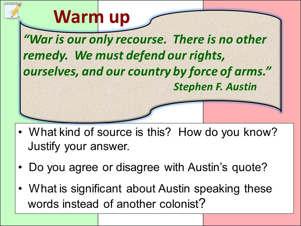 Warm up War is our only recourse. There is no other remedy. We must defend our rights, ourselves, and our country by force of arms.