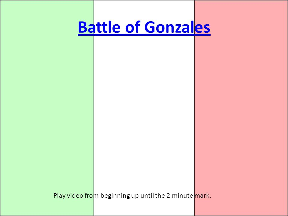 Battle of Gonzales Play video from beginning up until the 2 minute mark.
