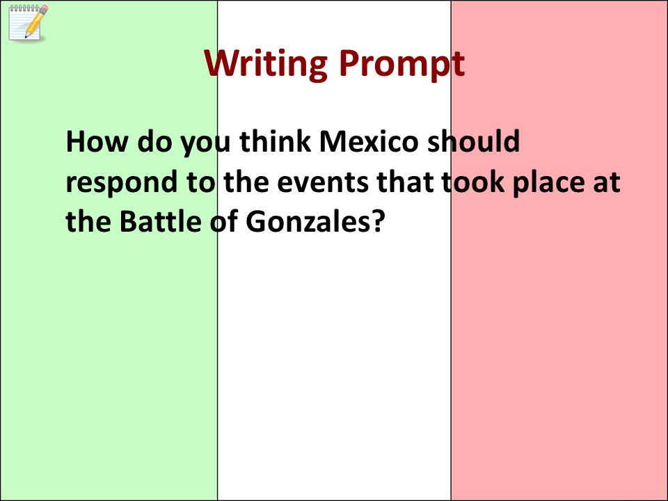 Writing Prompt How do you think Mexico should respond to the events that took place at the Battle of Gonzales