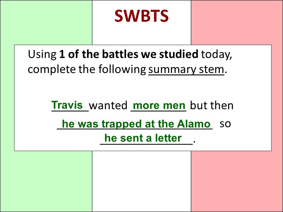 SWBTS Using 1 of the battles we studied today, complete the following summary stem. ______wanted _________ but then.