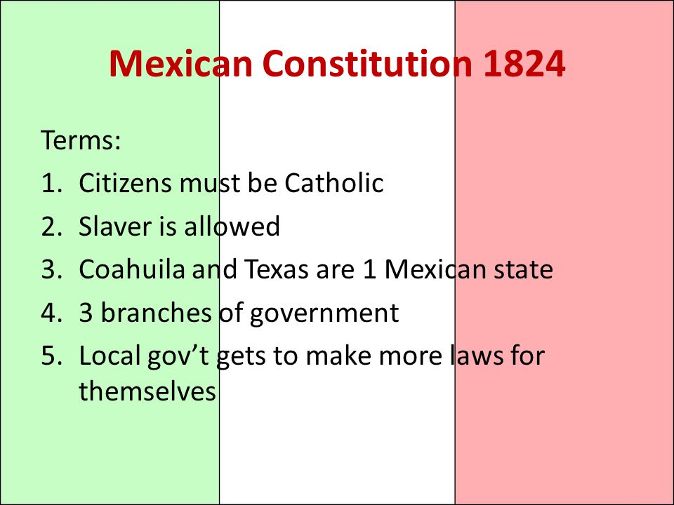 Mexican Constitution 1824 Terms: Citizens must be Catholic