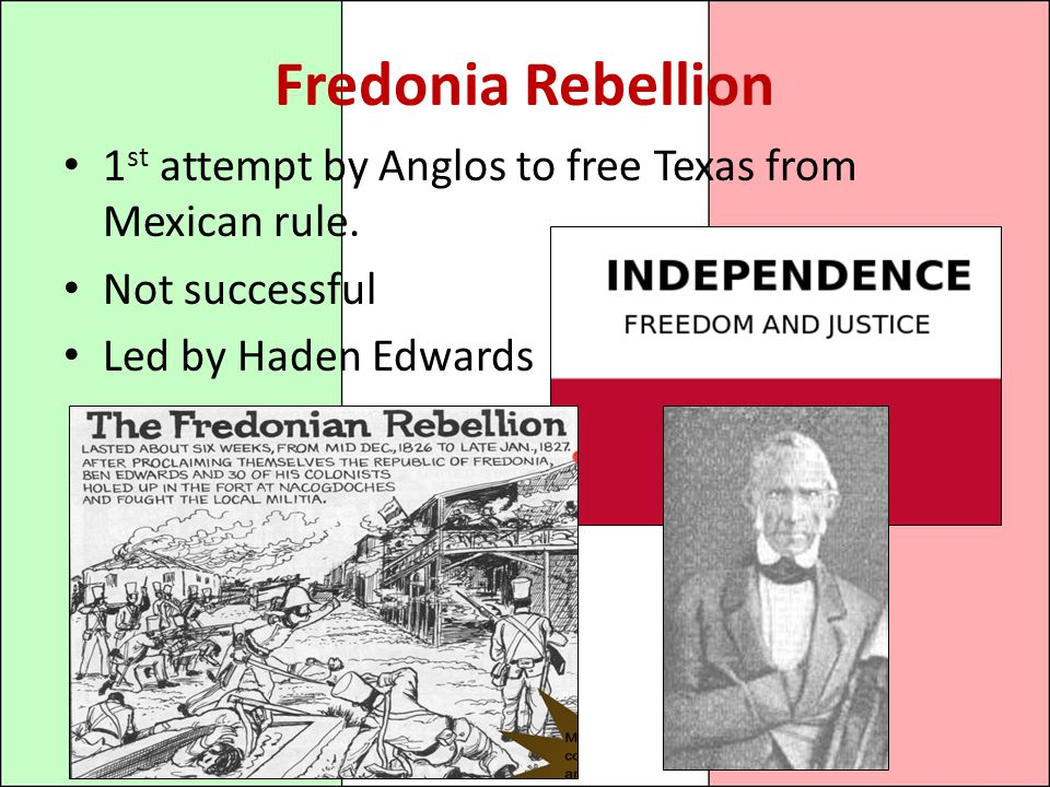 Fredonia Rebellion 1st attempt by Anglos to free Texas from Mexican rule.