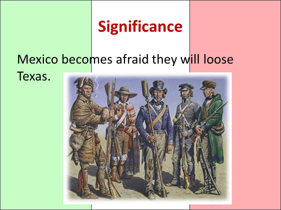 Significance Mexico becomes afraid they will loose Texas.