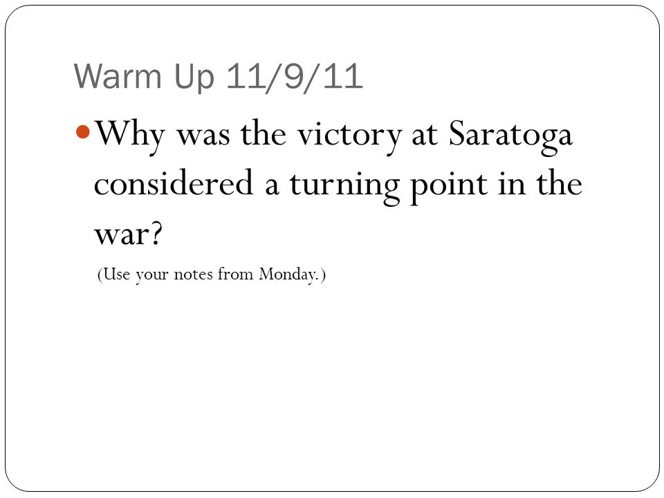 The Battle Of Saratoga - Sept & Oct 1777