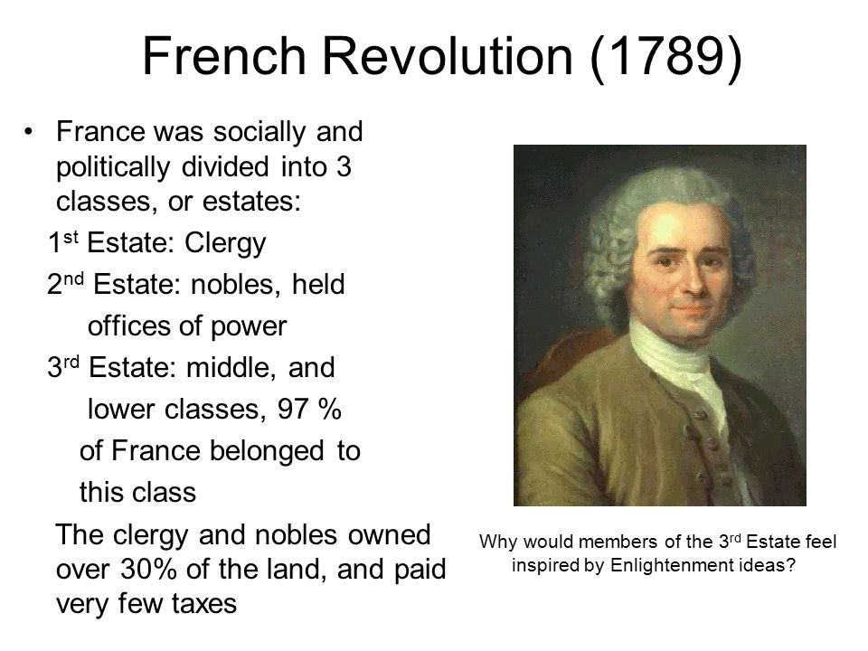 French Revolution (1789) France was socially and politically divided into 3 classes, or estates: 1st Estate: Clergy.