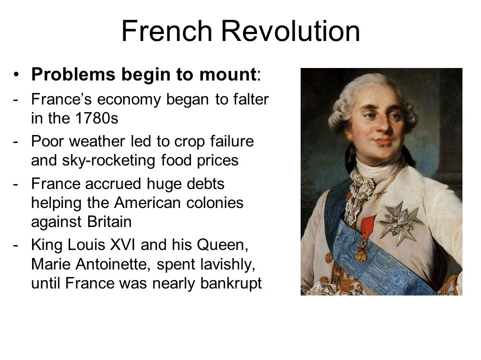 French Revolution Problems begin to mount:
