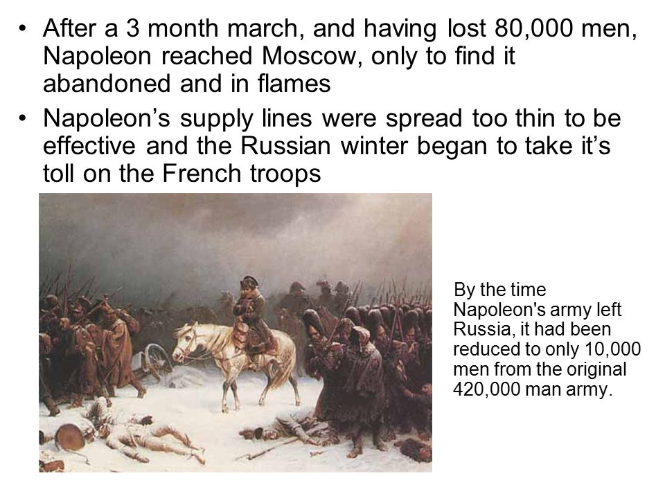 After a 3 month march, and having lost 80,000 men, Napoleon reached Moscow, only to find it abandoned and in flames