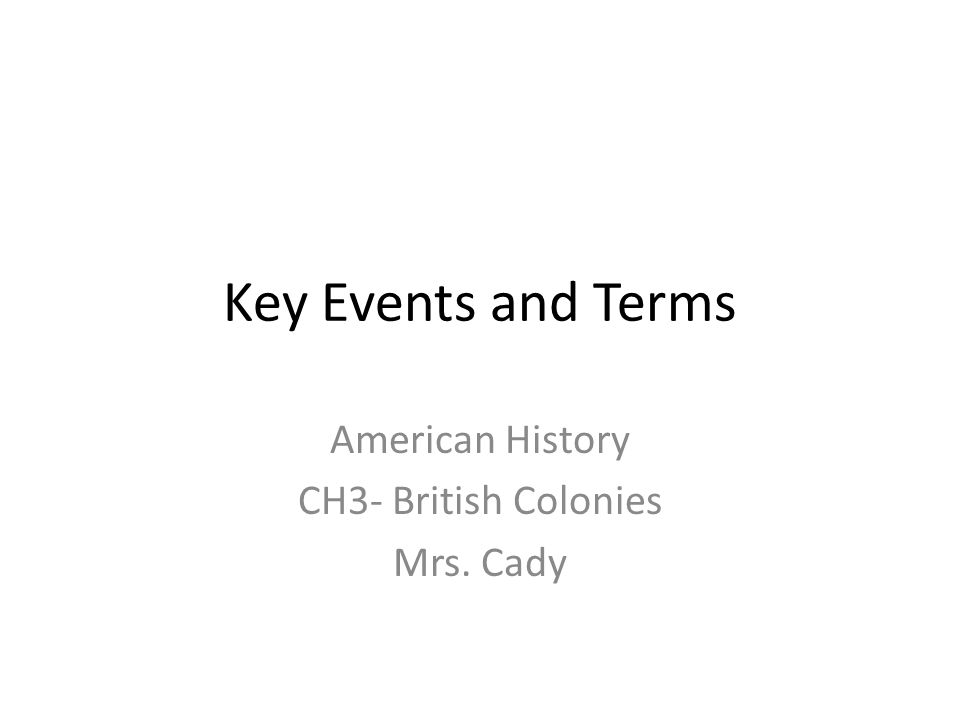 American History CH3- British Colonies Mrs. Cady