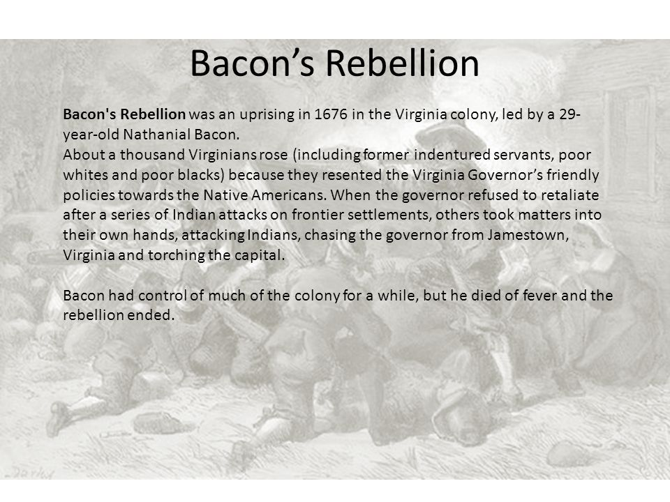 Bacon's Rebellion Bacon s Rebellion was an uprising in 1676 in the Virginia colony, led by a 29-year-old Nathanial Bacon.