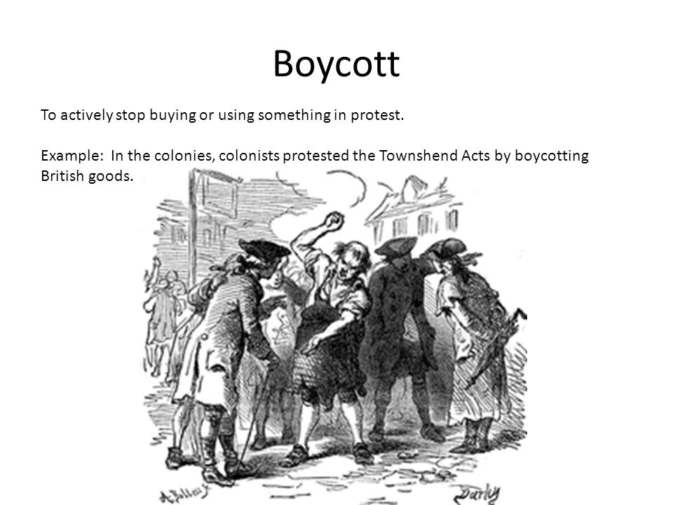 Boycott To actively stop buying or using something in protest.