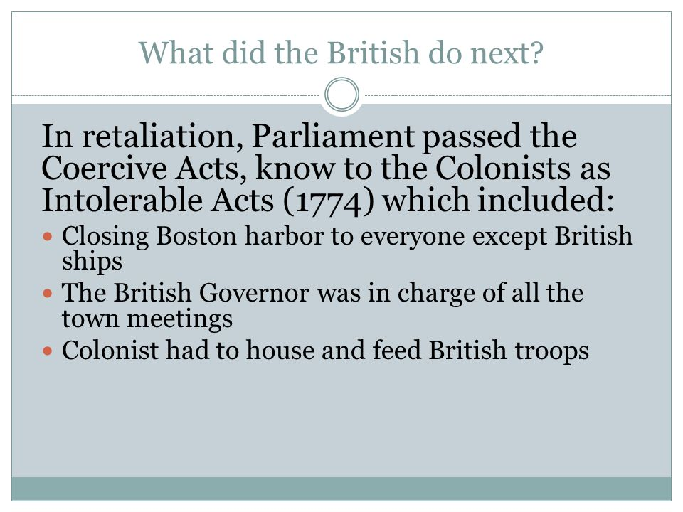 What did the British do next