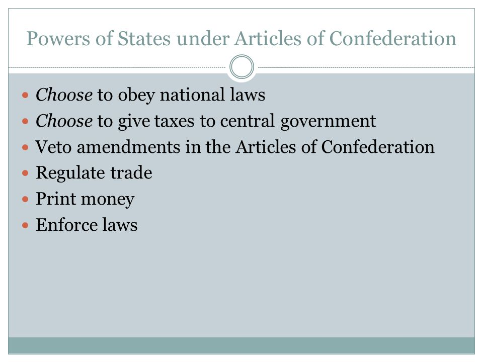 Powers of States under Articles of Confederation