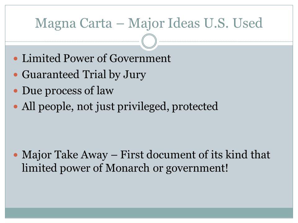 Magna Carta – Major Ideas U.S. Used