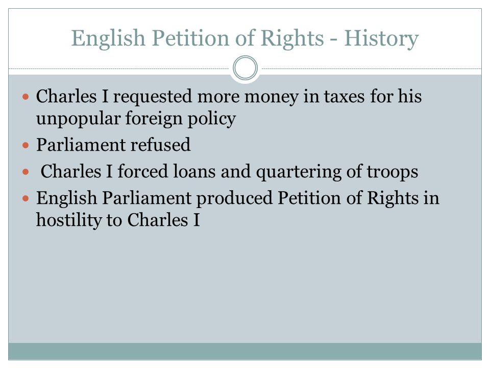 English Petition of Rights - History