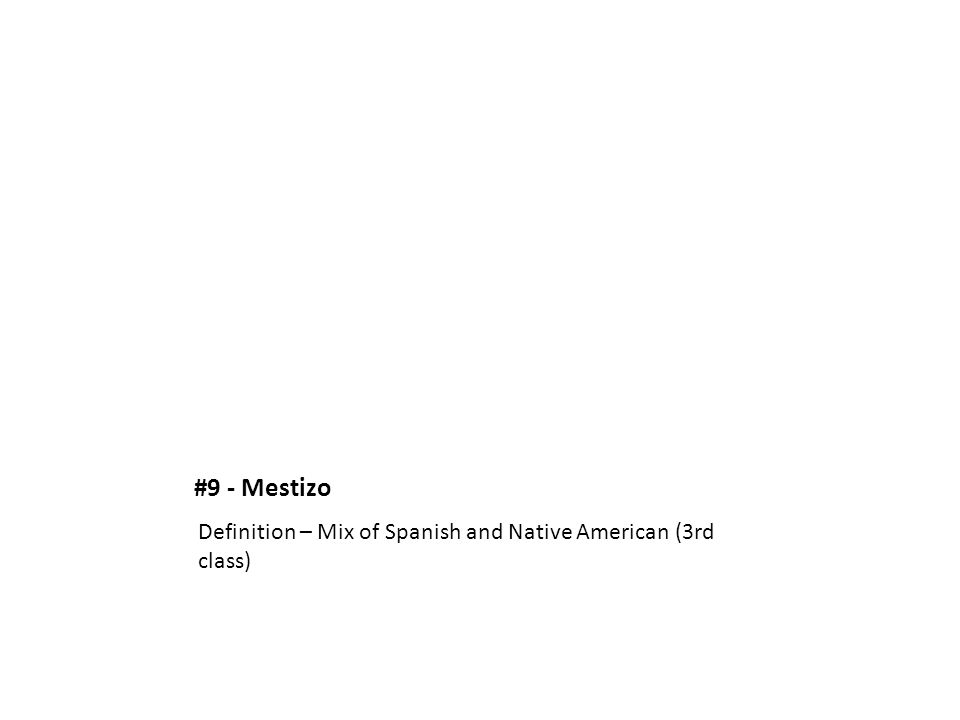 #9 - Mestizo Definition – Mix of Spanish and Native American (3rd class)