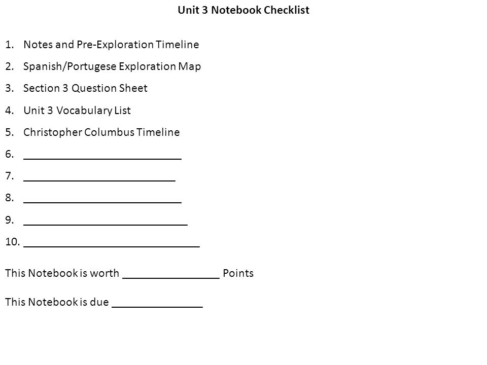 Unit 3 Notebook Checklist