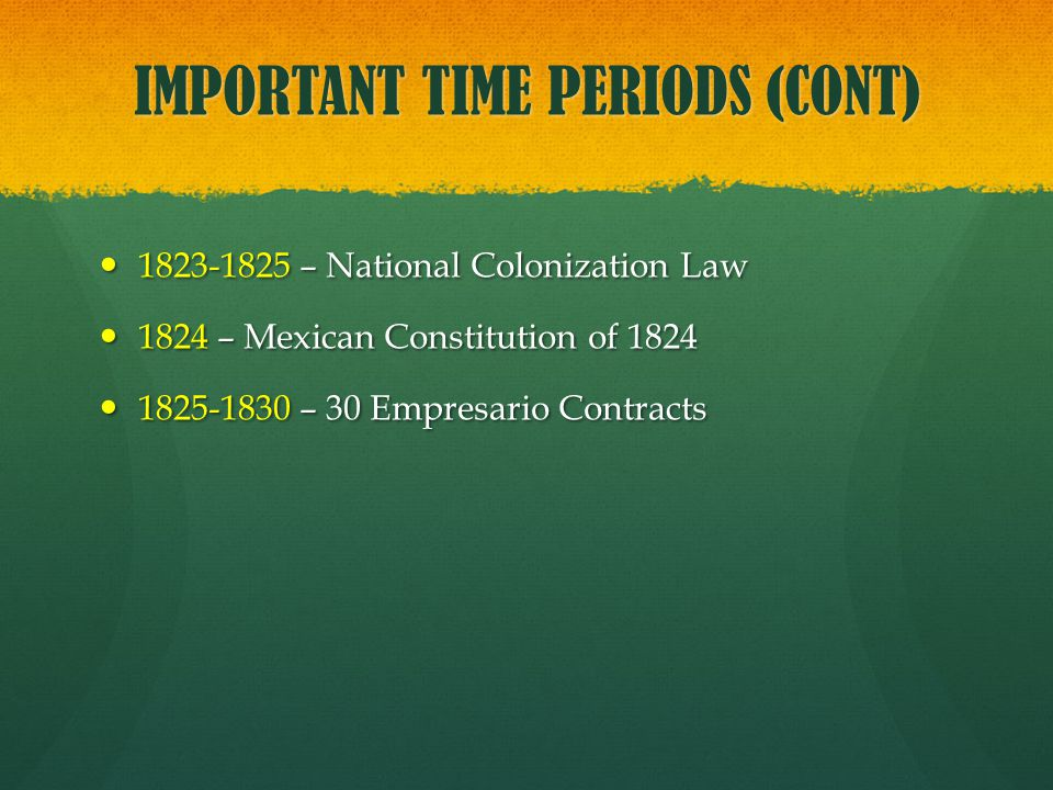 IMPORTANT TIME PERIODS (CONT)