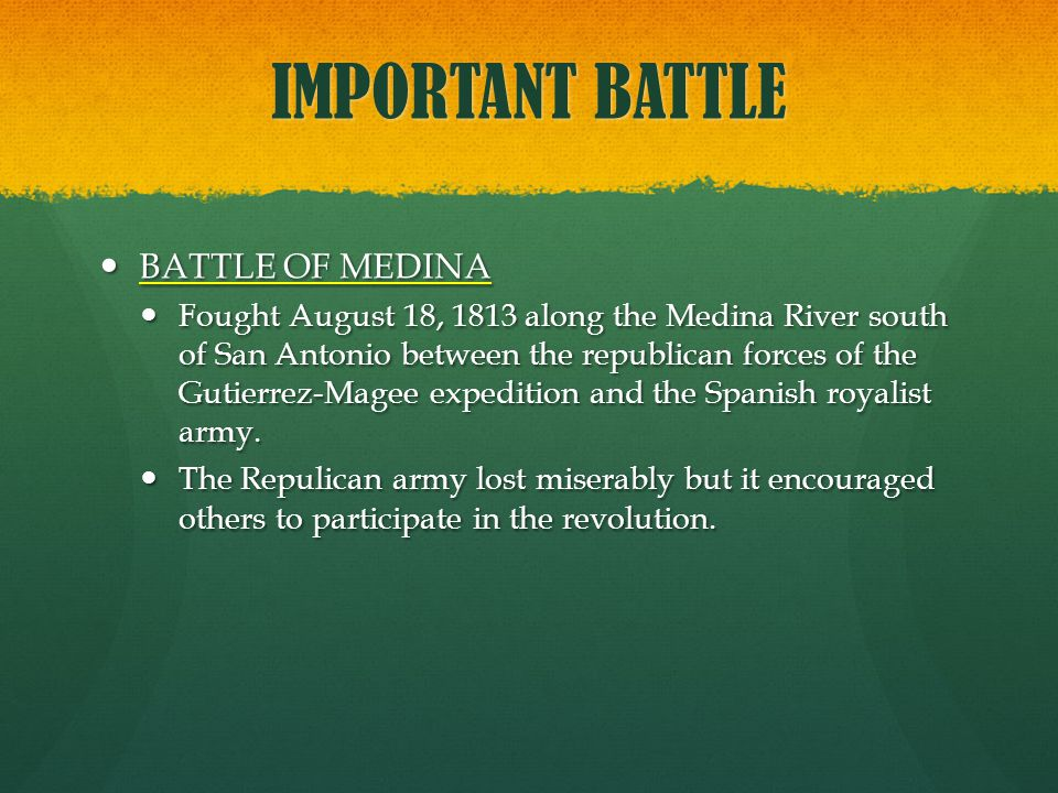 IMPORTANT BATTLE BATTLE OF MEDINA