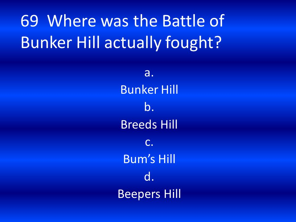 69 Where was the Battle of Bunker Hill actually fought