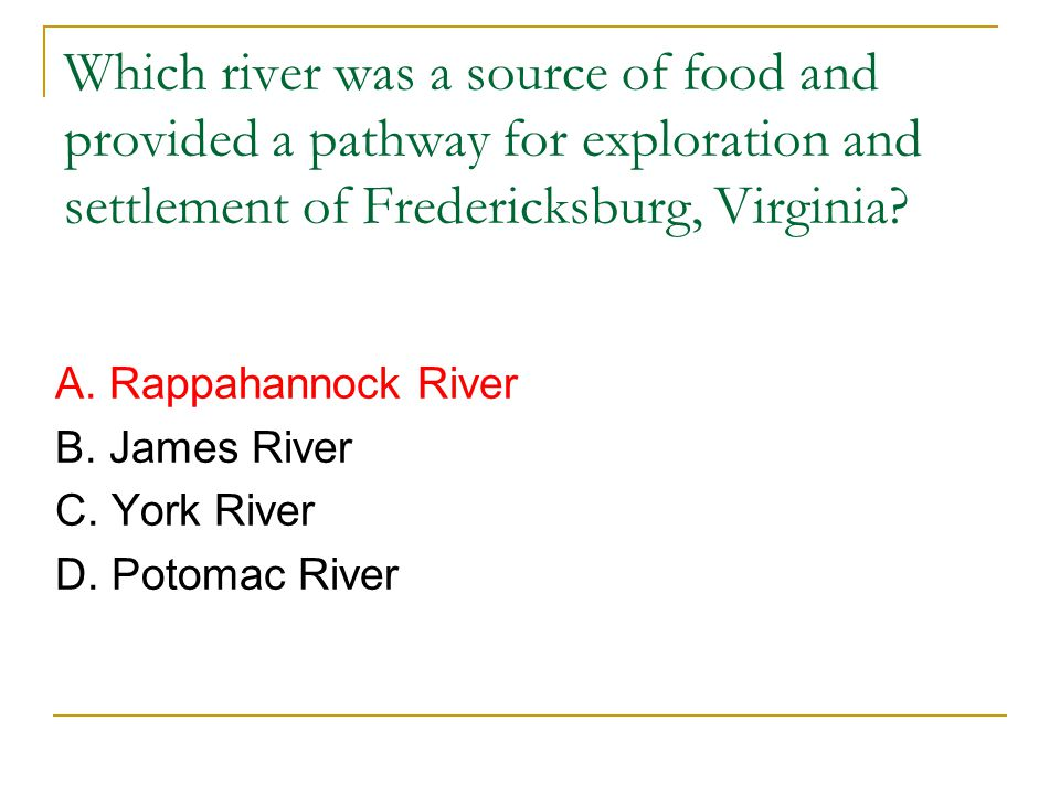 Which river was a source of food and provided a pathway for exploration and settlement of Fredericksburg, Virginia