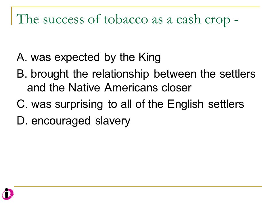 The success of tobacco as a cash crop -