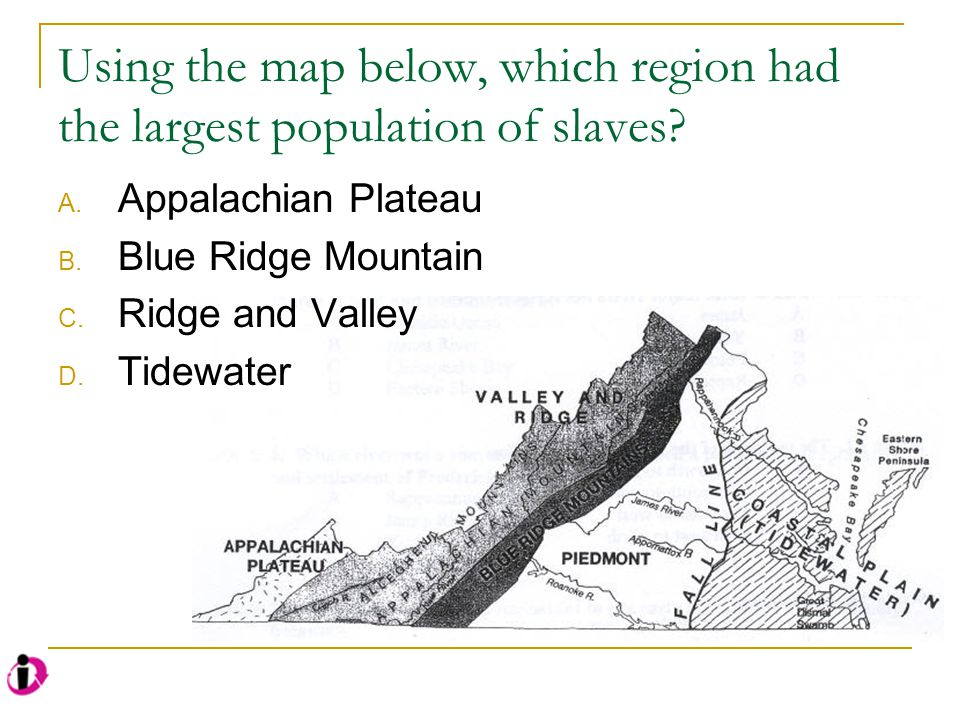 Using the map below, which region had the largest population of slaves