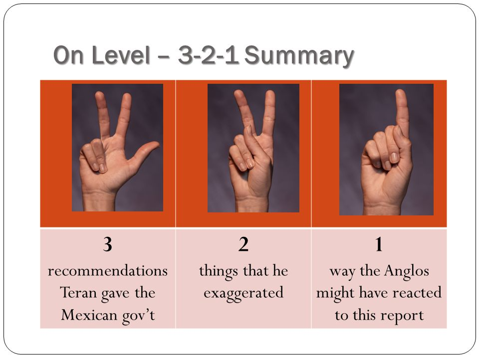On Level – 3-2-1 Summary 3 recommendations Teran gave the Mexican gov't. 2. things that he exaggerated.