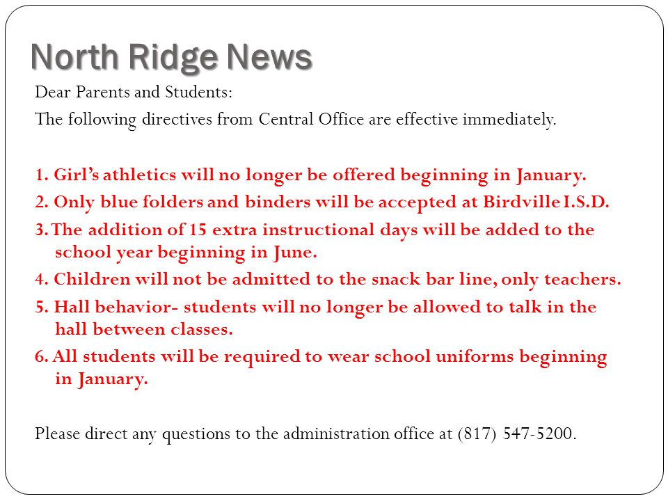 North Ridge News