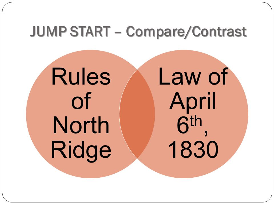 JUMP START – Compare/Contrast