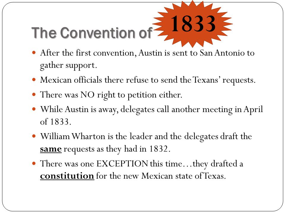 The Convention of 1833. After the first convention, Austin is sent to San Antonio to gather support.