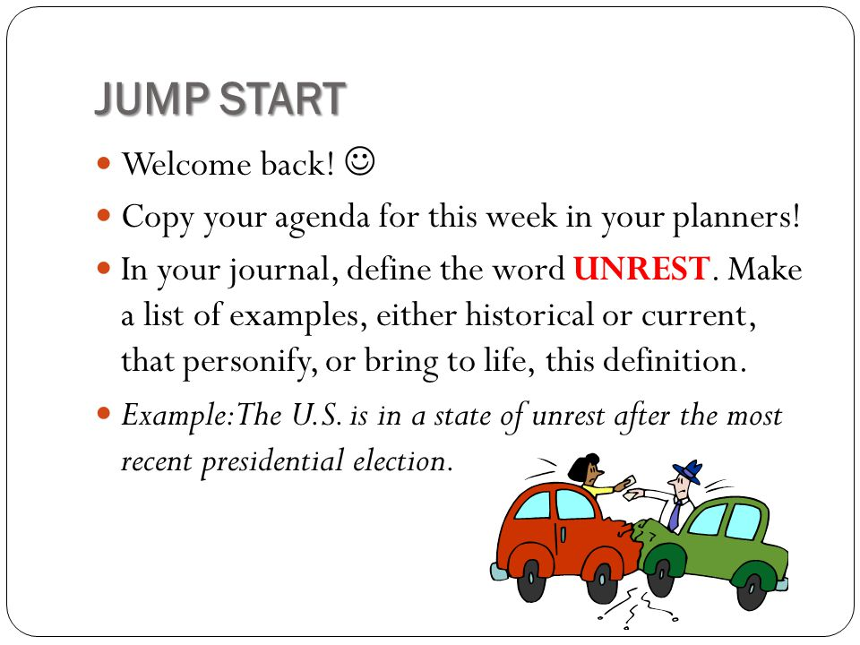 JUMP START Welcome back! 